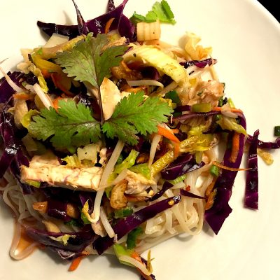 Ageless-style Chinese Chicken Salad, full of fresh herbs and vegetables with a addictively tangy dressing