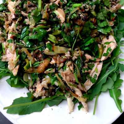 Fresh Herb, Three-Rice Chicken Salad with a savory, toasted sesame dressing