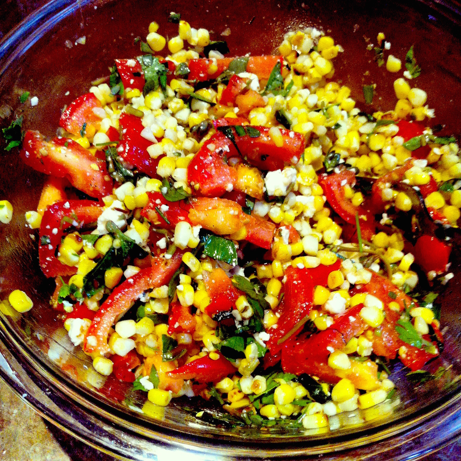 charred corn salad with basil and tomatoes halibut with charred corn ...