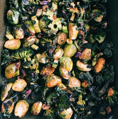 Big batch cook lemon, fresh rosemary roasted vegetables for quick meals