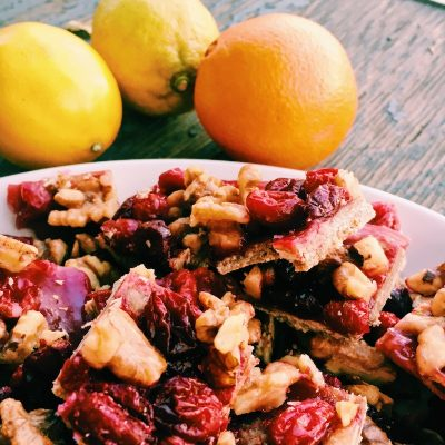 Bake cranberry walnut bars when the cranberries are fresh