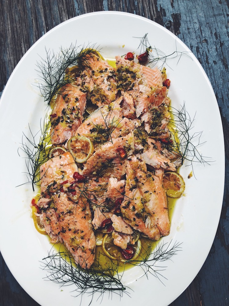Slow-Baked Salmon Filet with Citrus & Thyme. Simple preparation, great taste.