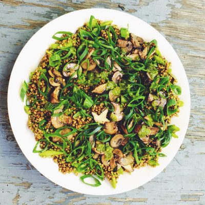 Phytonutrient-rich Buckwheat Salad with Sautéed Mushrooms, Scallions