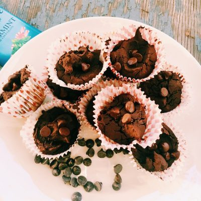 Gluten-free, healthyish, chocolate peppermint brownies with chocolate chips and black beans