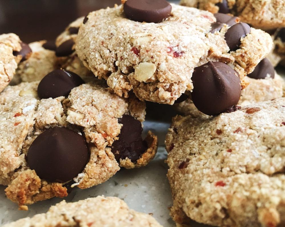 Vegan Chocolate Chip Cookies, healthy, sugar-free, gluten-free treat!