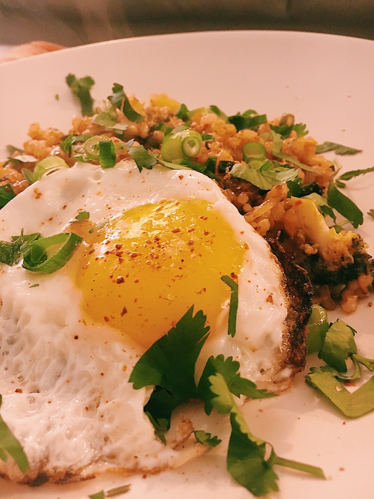 Add protein and rich depth to your kimchi fried rice, top it with a fried egg