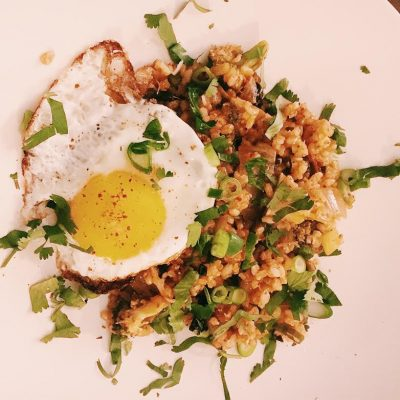 Good for your gut, savory, deeply flavorful, vegetarian kimchi fried rice is what's for dinner