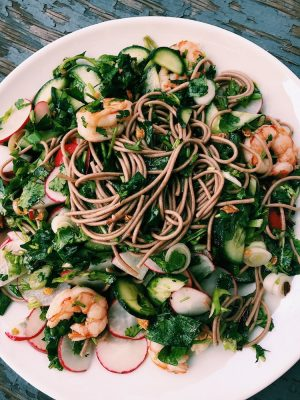 Noodle Salad with Fresh Herbs and Chile Scallion Oil