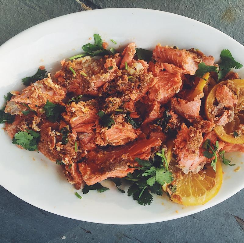 Slow Roasted Salmon with Harissa and Fresh Lemon