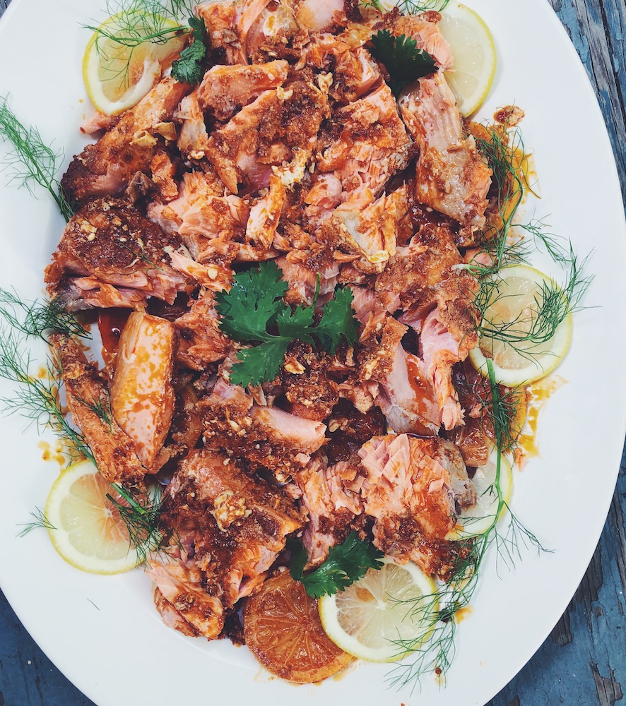 Slow Roasted Wild-Caught Alaskan Salmon with Harissa and Fresh Lemon