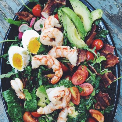 Shrimp Cobb Salad is simple, light, and delicious. With a fresh cilantro and lime dressing, this flavorful salad is easy to throw together.