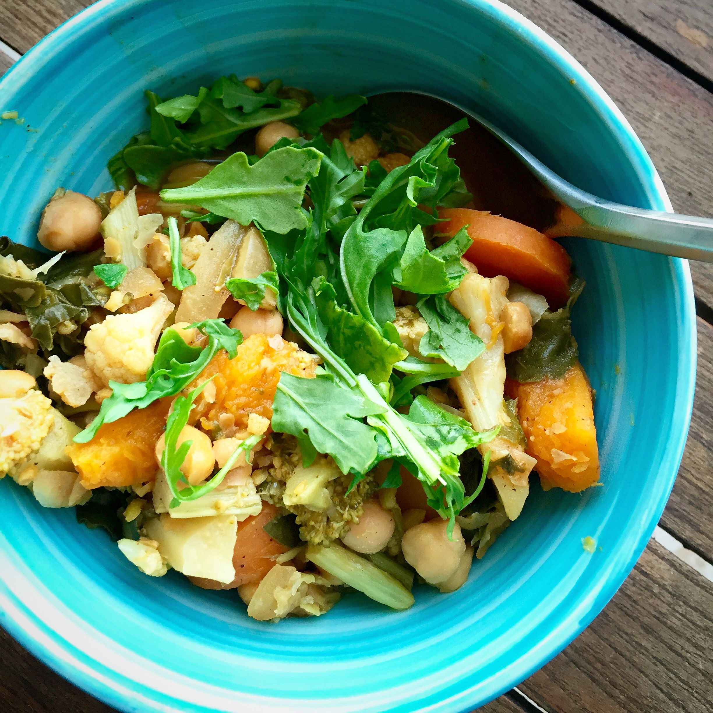 Moroccan-inspired chickpeas with chard. Vegan, earthy, wonderfully spiced