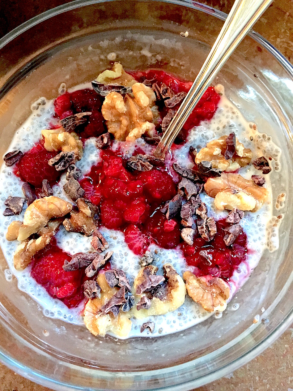 Raspberry Cacao Chia Seed Pudding, naturally sweetened, power packed superfood, thick and creamy