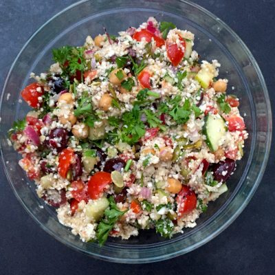 Great low-glycemic Cauliflower Couscous with protein-rich Chickpeas
