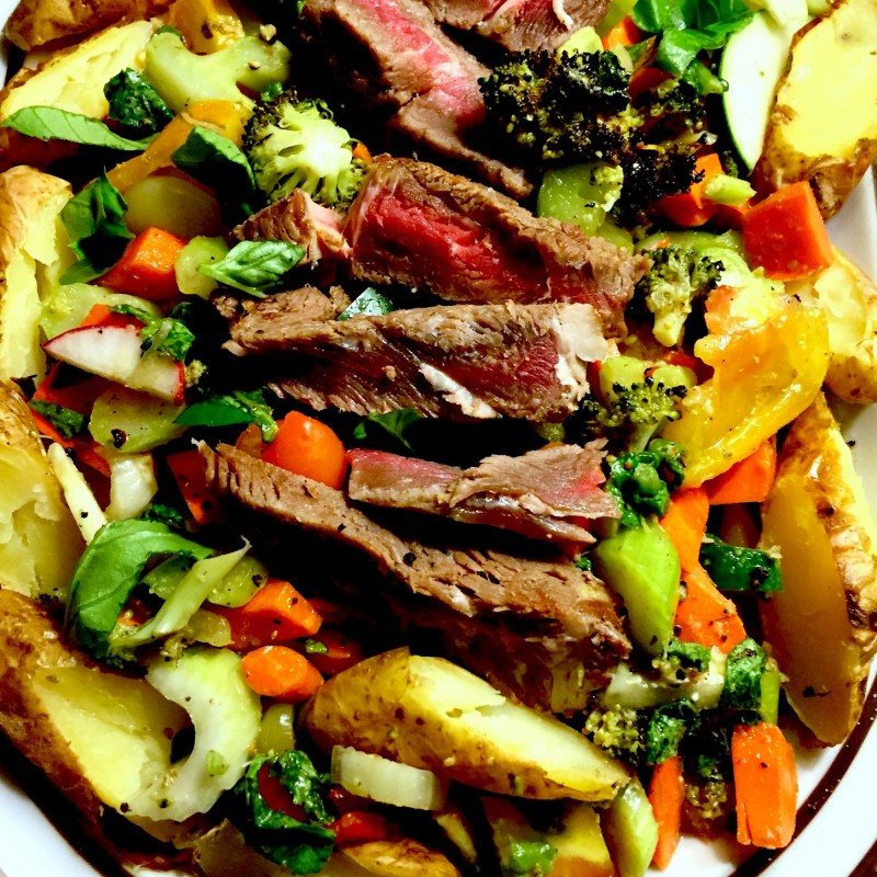 Steak Salad with grass-fed beef and plenty of vegetables