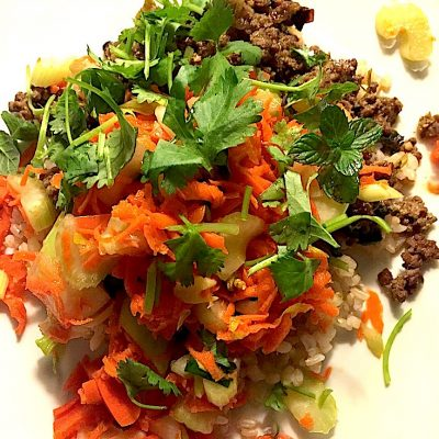 Thai Basil Beef with fresh lime juice and herbs – basil, cilantro, and mint, crisp veggies and great flavor