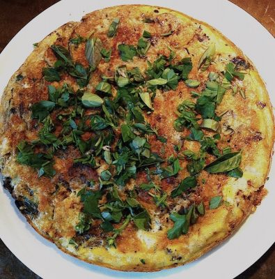 Egg dishes including this fresh herb and mushroom omelet are fortifying