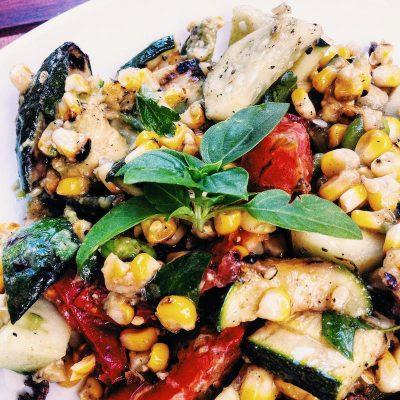 Summer Salad with grilled corn, zucchini, chickpeas, edamame