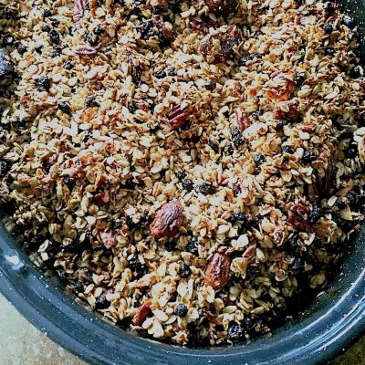 Crispy, chewy, not too sweet, Olive Oil Granola with Apricots and Pecans is actually good for you and great tasting.