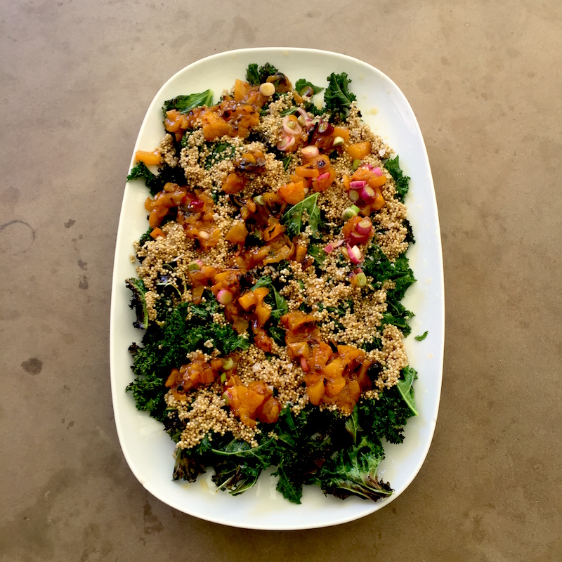 Grilled Baby Kale with Apricot Orange Relish & Fried Garlicky Quinoa