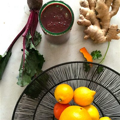 Sunshine smoothie with fresh turmeric and ginger root and beets is an antioxidant powerhouse with plenty of fiber.
