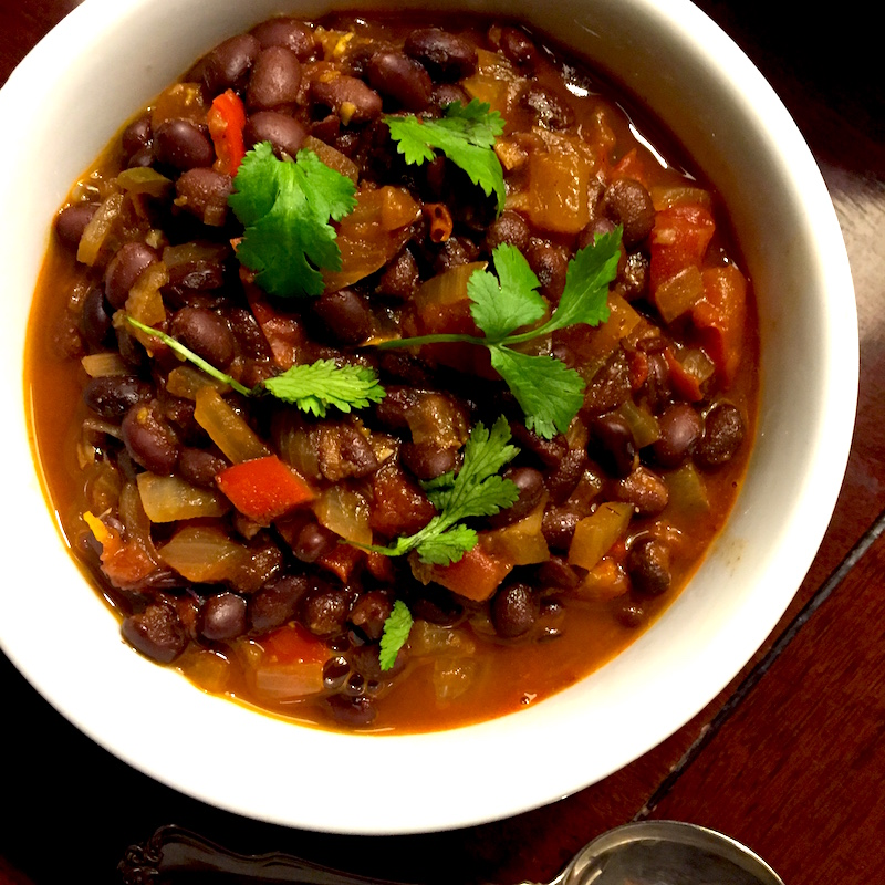 Make this vegetarian black bean chili on a Sunday and enjoy it for lunch or dinner all week.