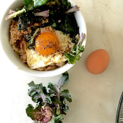 Savory oats with garlicky kale nourishing meal in less than 15 minutes