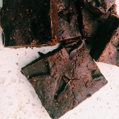 Delicious dark chocolate brownie with sweet potato