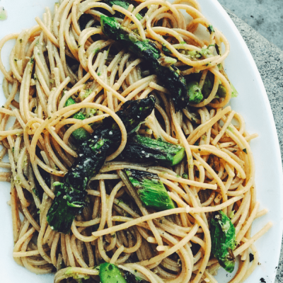 Ramp and Kale Pesto Spaghetti with Grilled Asparagus