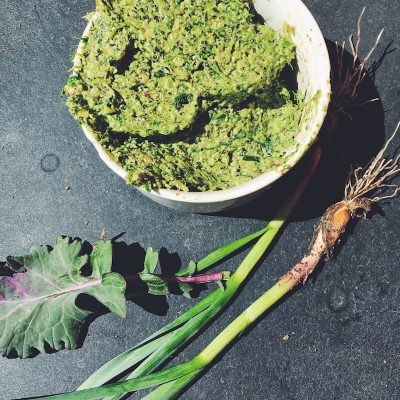 Say hello to spring with ramp and kale pesto. Ramps are wild leeks.