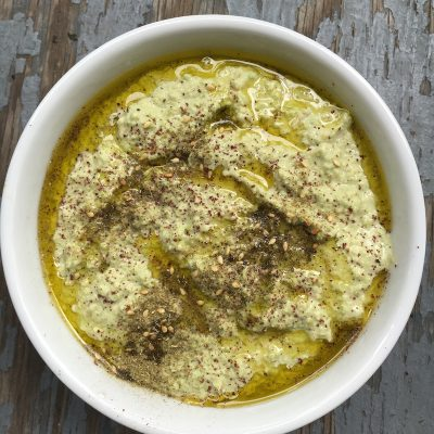Edamame hummus dip, with soybeans, is loaded with bright flavors