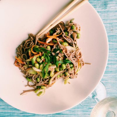 Soba salad with miso dressing, shredded carrots, edamame is good hot or cold
