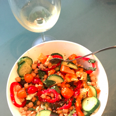 sauvignon blanc, red peppers, chickpeas, healthy food, recipes