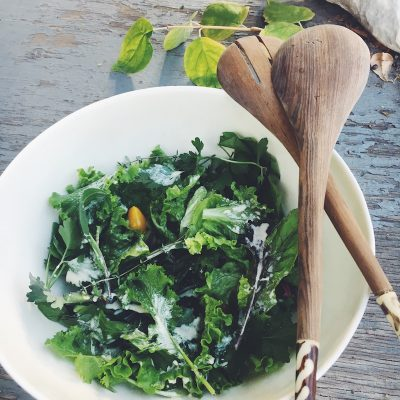Winter Greens Salad with the best creamy vinaigrette you will ever eat. This dressing will be the one you measure all other vinaigrettes against.