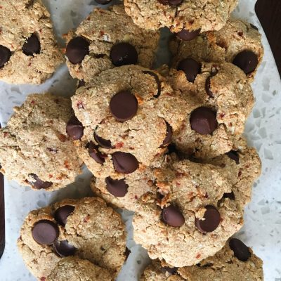 Vegan peanut butter chocolate chip cookies are good for you, power packed with fiber and protein!