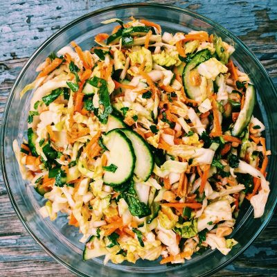 Cabbage Peanut Slaw, light, fresh, and really flavorful