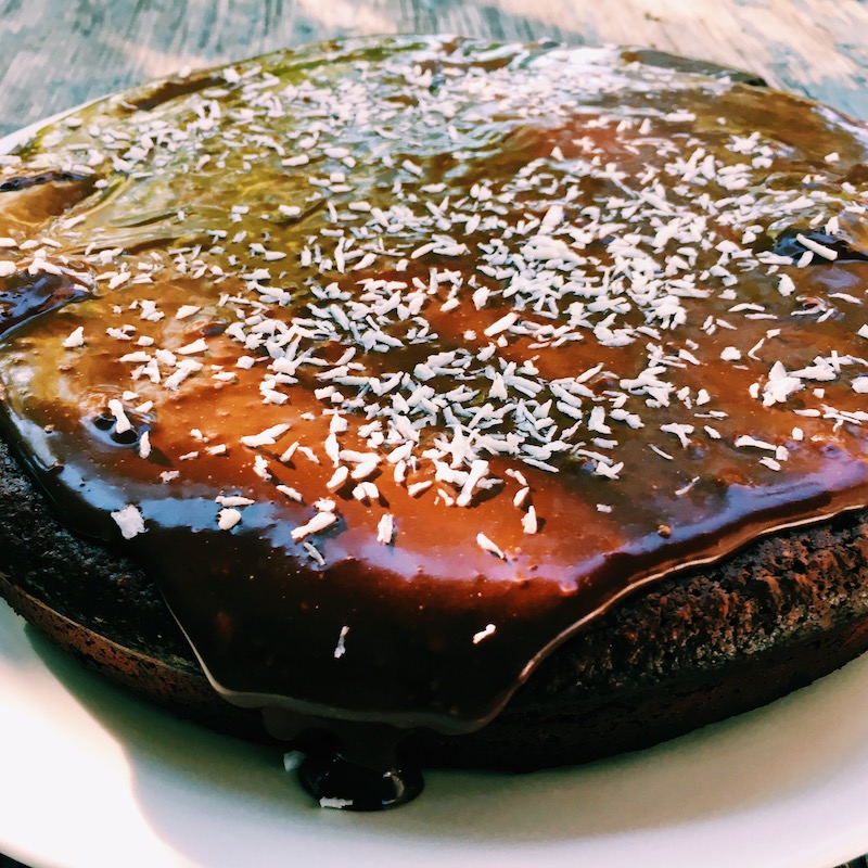 Gluten-free, low in sugar, extra-dark chocolate decadence, this is a delicious, rich cake.