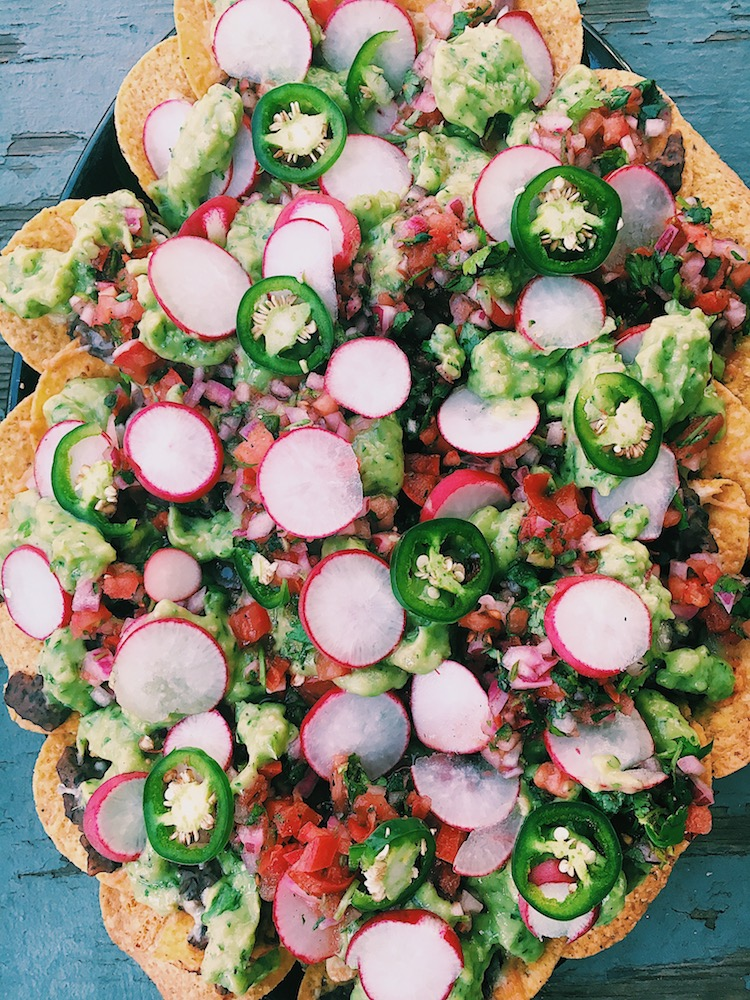 Fully Loaded Black Bean Nachos with Red and Green Salsas