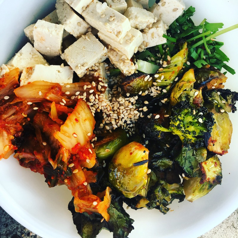 Spicy Brassicas Vegan Rice Bowl with Gut-Friendly Kimchi and Tofu