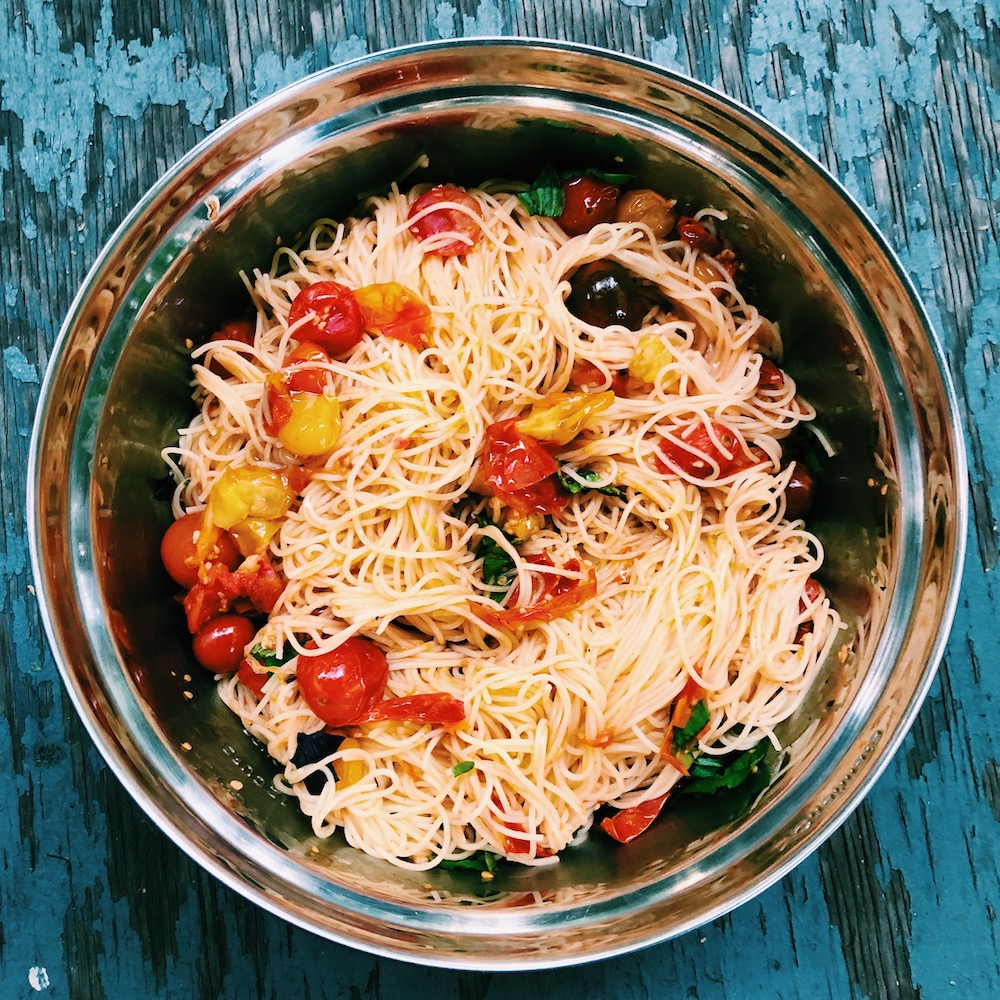 Take advantage of fresh tomatoes at the Farmers Market with this recipe Pasta with Summer Tomato Sauce