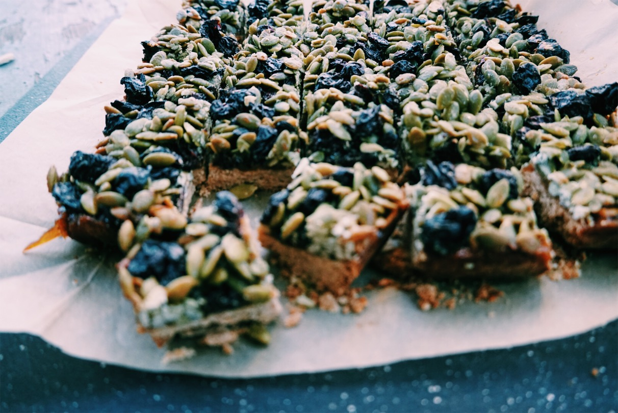 Hit that sweet tooth with these pumpkin seed, dried cherry bars